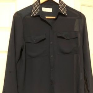 Abercrombie & Fitch Dark Blue Sheer Blouse Size XS